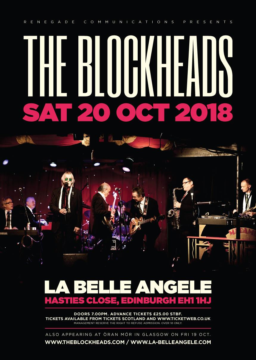 the blockheads la belle angele edinburgh sat 20th october 2018 rh skiddle com Blockhead People Charlie Brown Blockhead