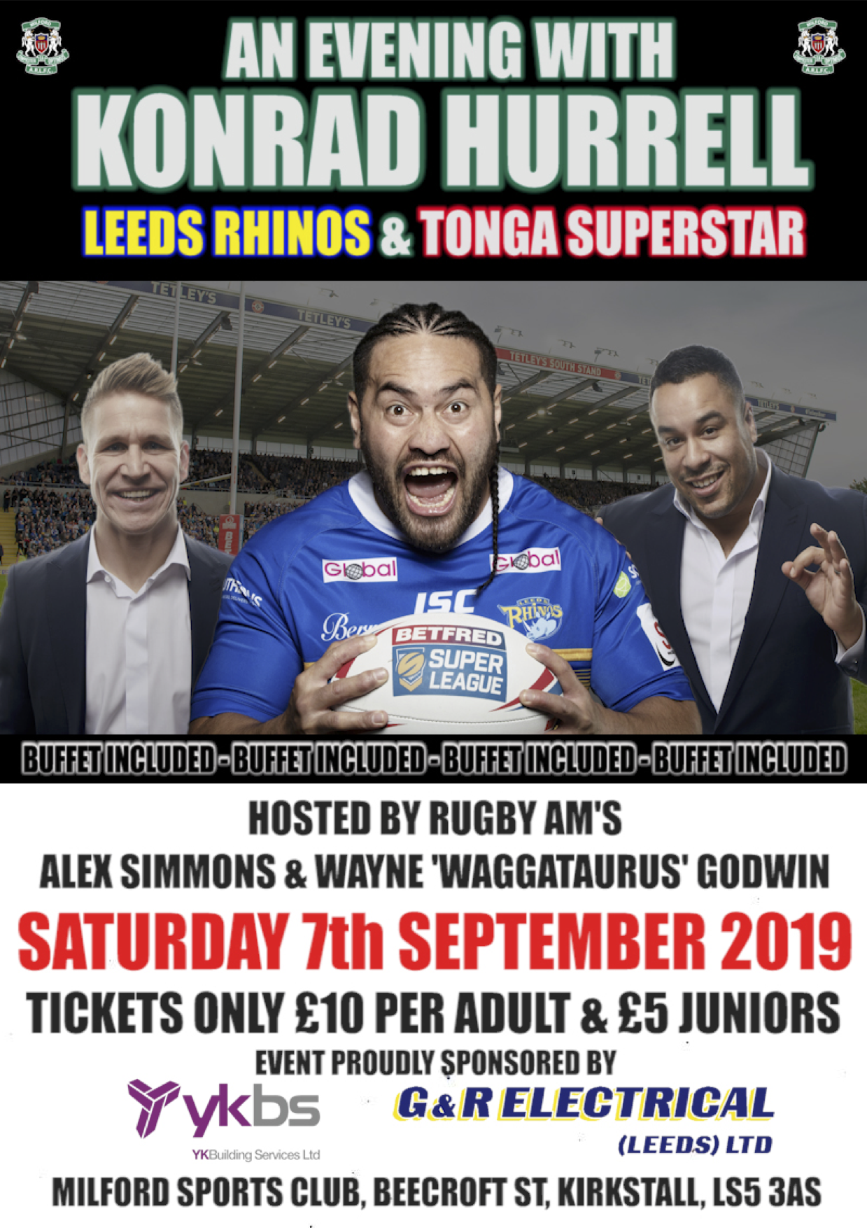 An Evening With    KONRAD HURRELL, WAYNE GODWIN & ALEX SIMMONS at Milford  Marlins ARLFC