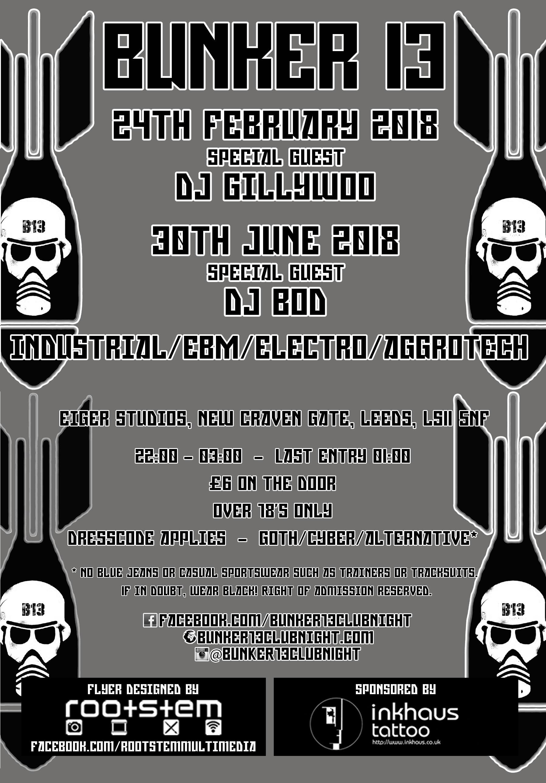 Eiger Studios & Bunker 13 | Eiger Studios Leeds | Sat 30th June 2018 Lineup