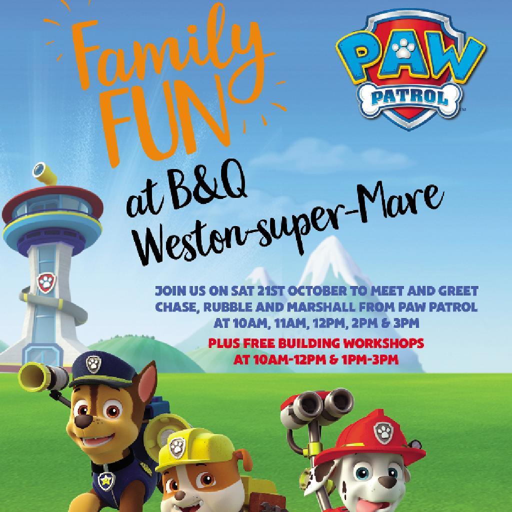 Paw Patrol Meet Greets Bandq Weston Super Mare Sat 21st