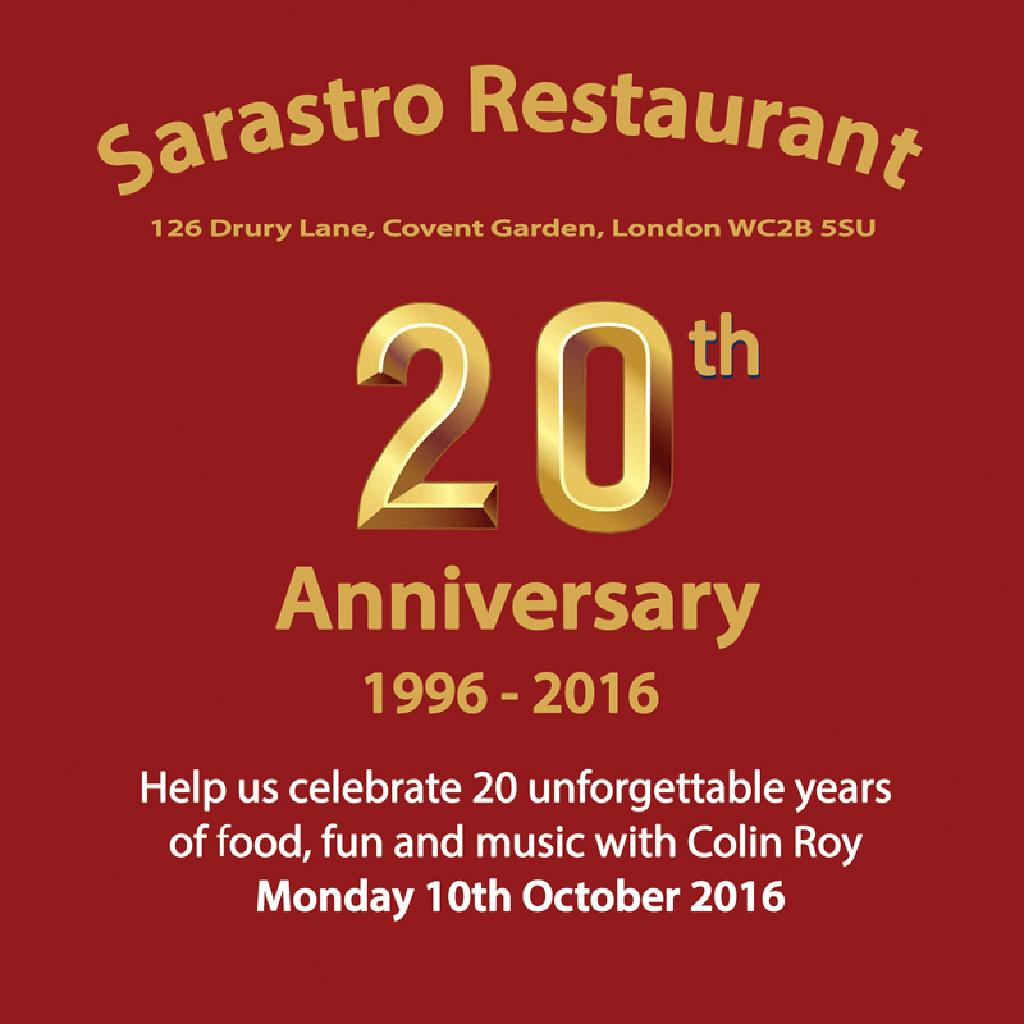 Sarastro 20th Anniversary Sarastro Restaurant London