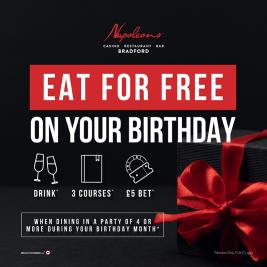 BIRTHDAY OFFER – EAT FOR FREE!