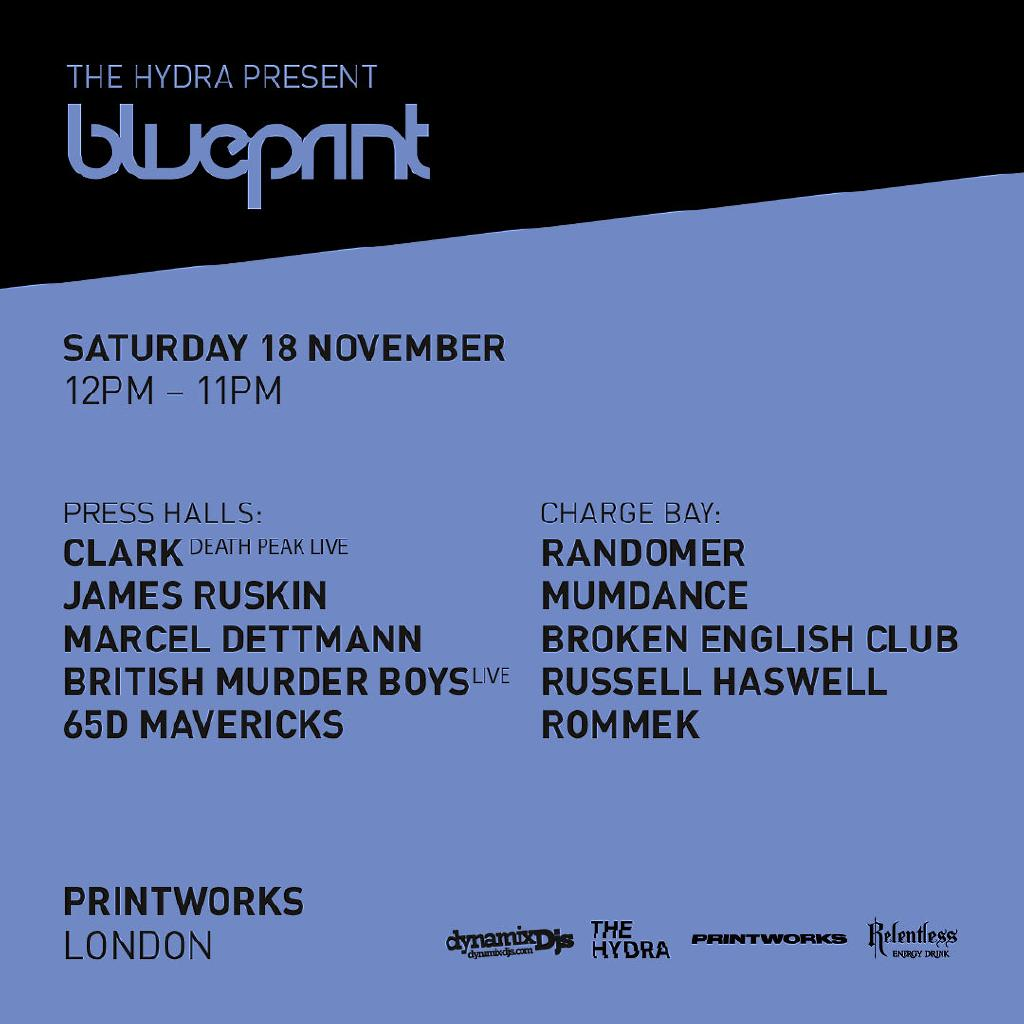 The hydra present blueprint tickets printworks london london sat the hydra present blueprint tickets printworks london london sat 18th november 2017 lineup malvernweather Gallery