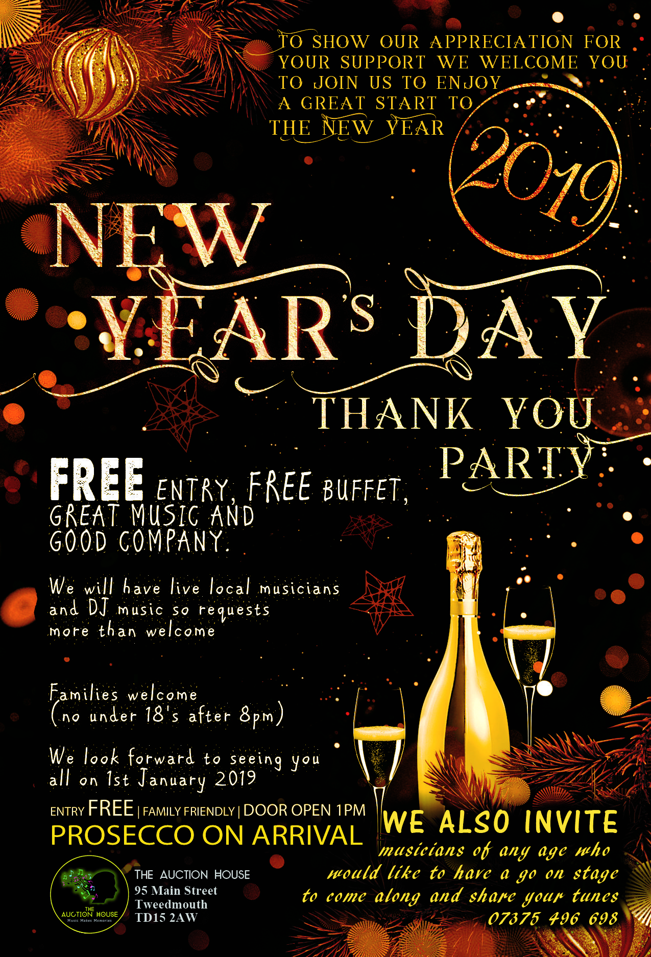 free new years day thank you party tickets the auction house
