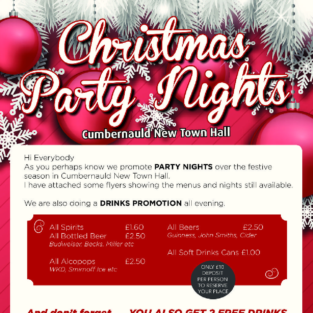 Christmas Evening Party.Xmas Party Nights 2018 Cumbernauld New Town Hall