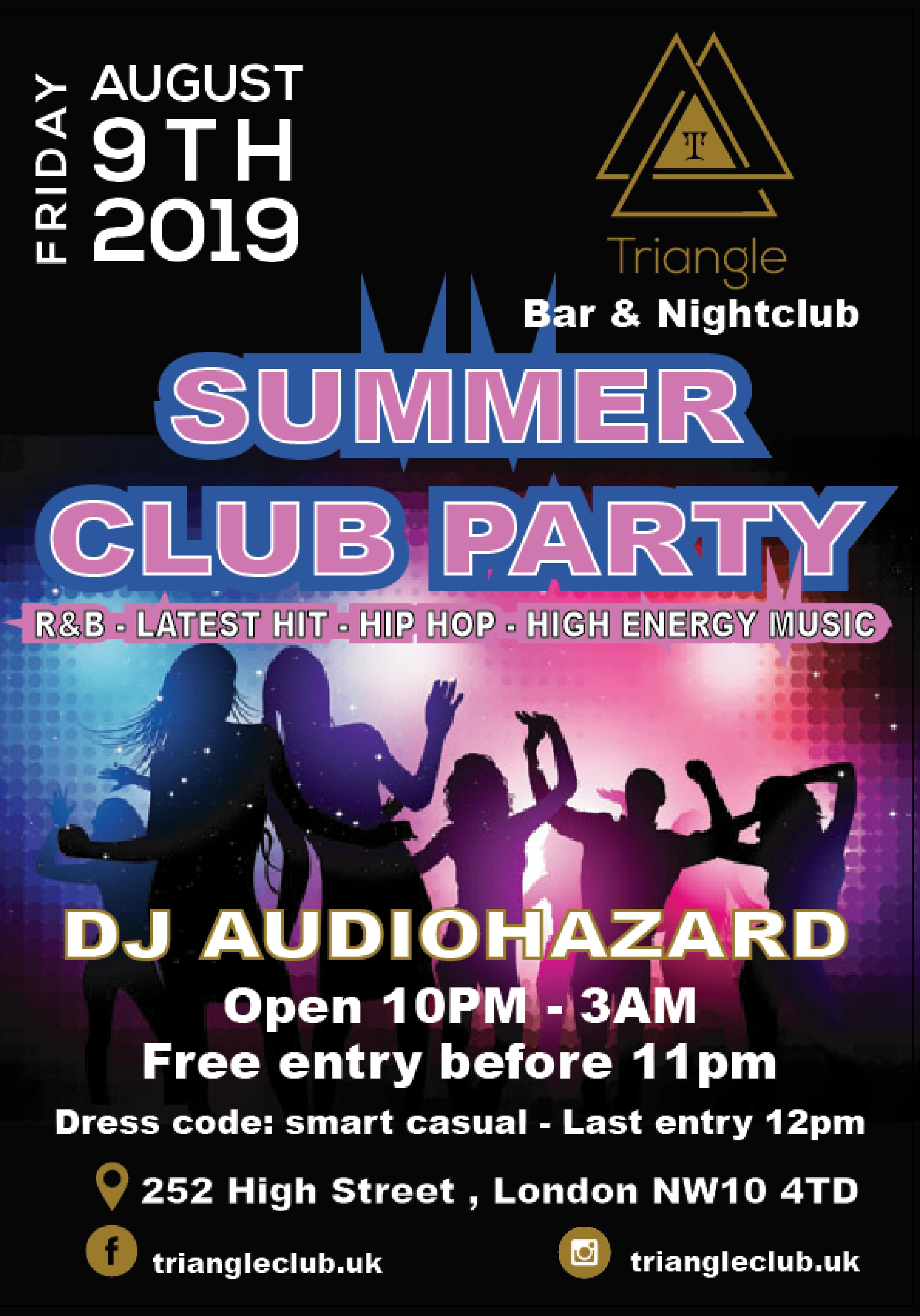 Summer Club Party | Triangle Nightclub London | Fri 9th August 2019