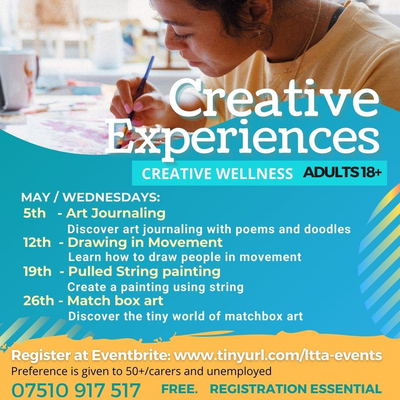 Creative Experiences are free online art classed for those living in the South East Midlands.   Workshops are for adults who are currently unemployed.