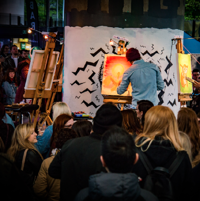 Manchester's most energetic art event. 10 talented artists go head-to-head in a live paint off where YOU decide the winner. Expect the unexpected...