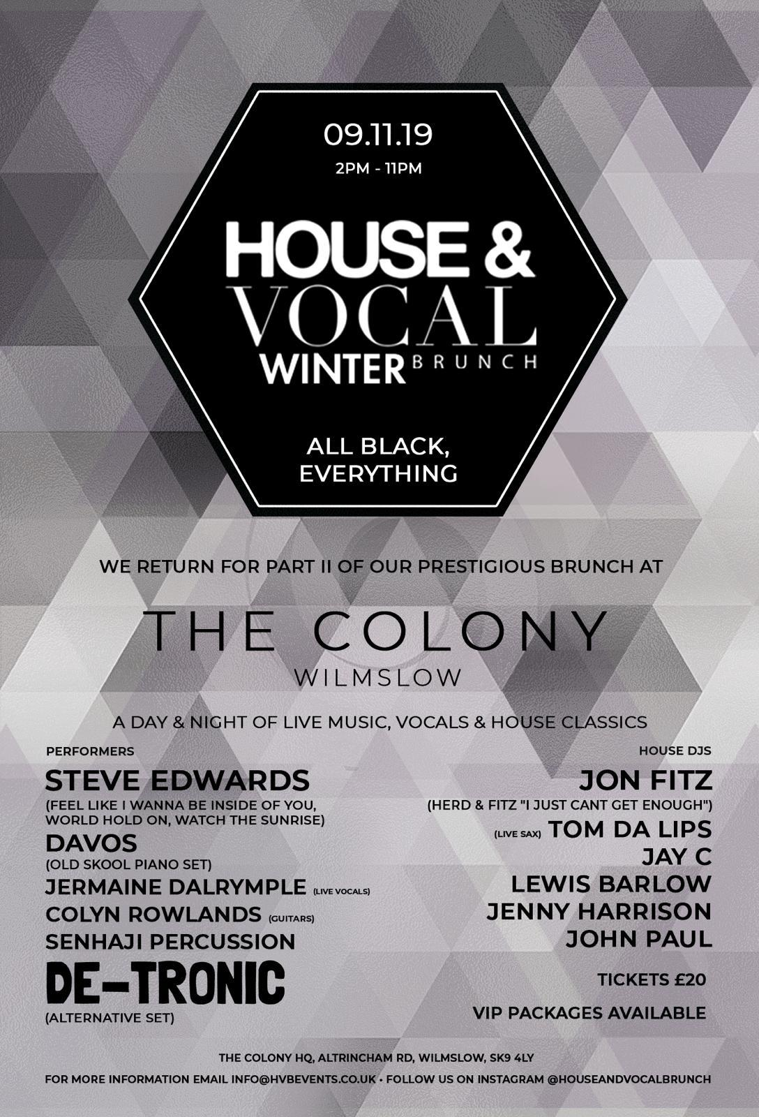 House & Vocal Winter Brunch at Colony HQ