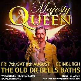 Reviews: Majesty - A Tribute To Queen | The Old Dr Bells Baths Edinburgh  | Sat 8th August 2020