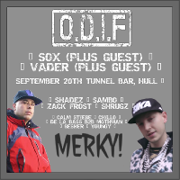 ODIF Presents: Merky! with SOX, Vader & Guests