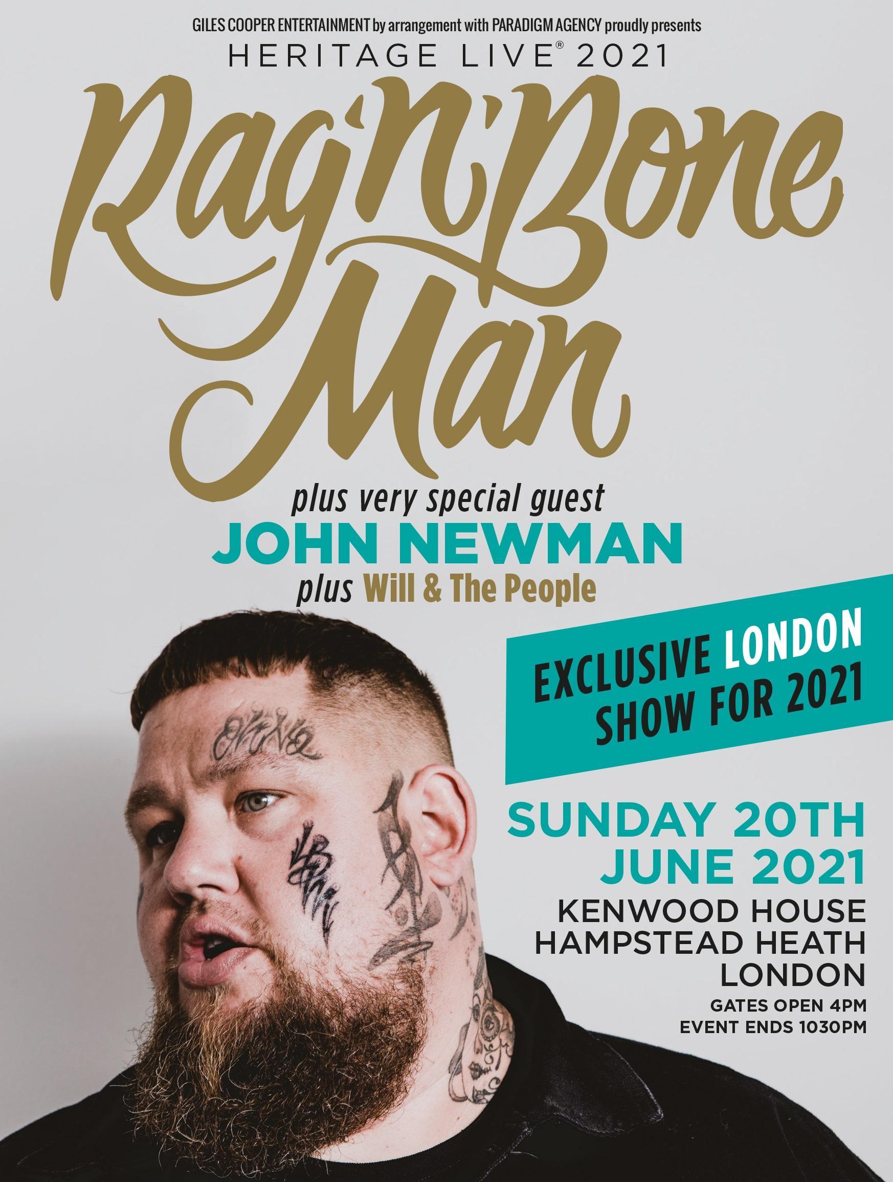 RAG'N'BONE MAN - exclusive outdoor London concert for 2021 Tickets | Kenwood House London | Sun ...