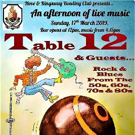 Table 12 (play rock and blues) | Hove Bowling Club Hove  | Sun 17th March 2019 Lineup