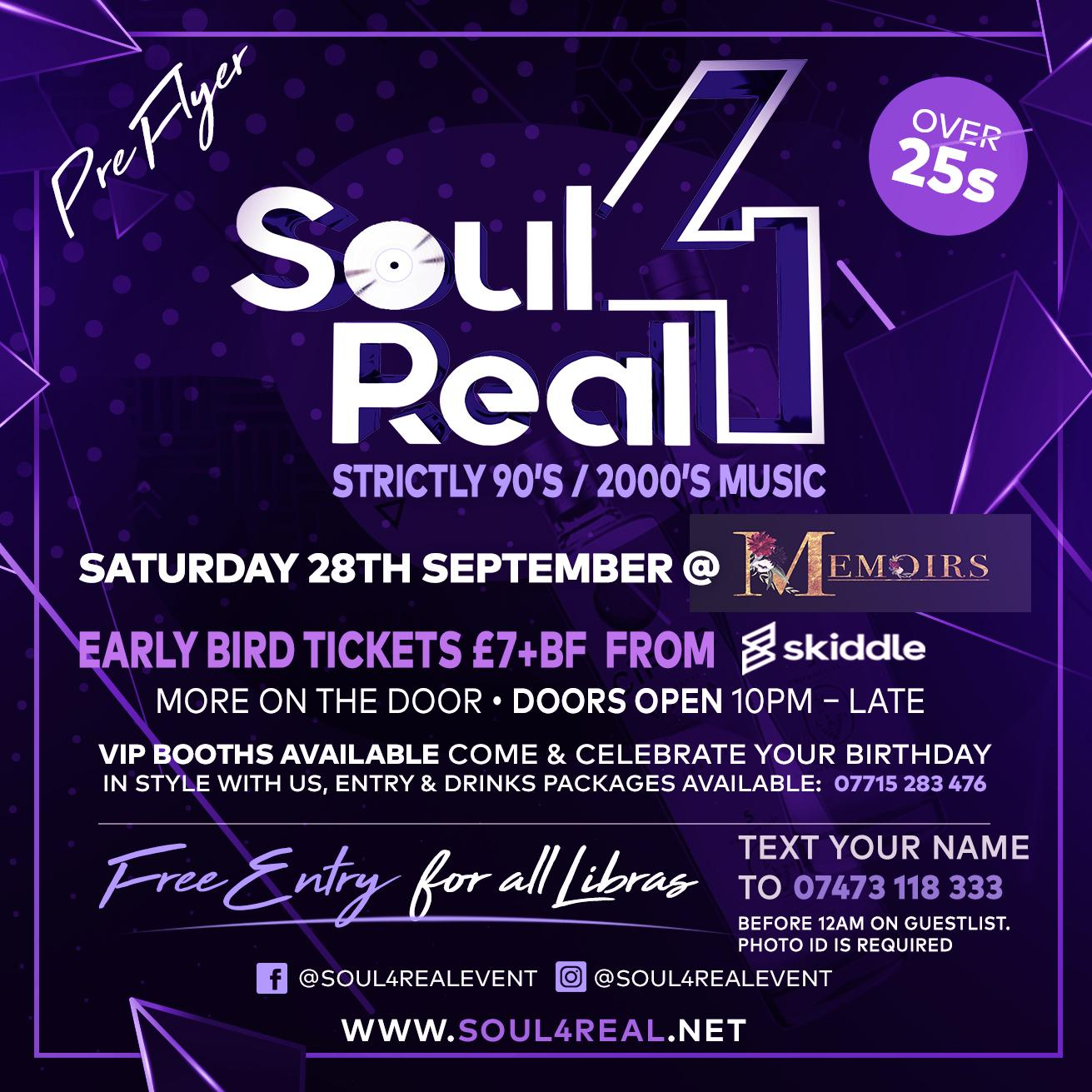 Soul 4 Real at Memoirs