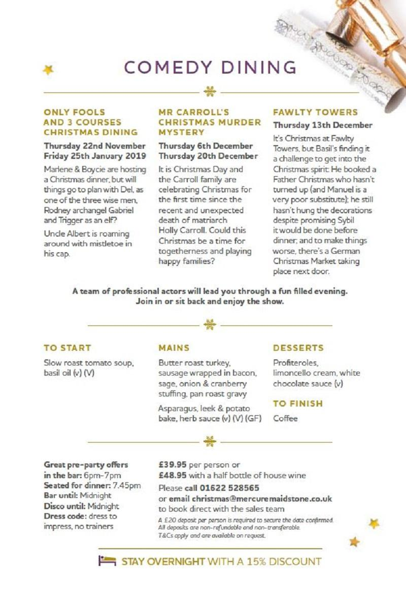 Only Fools & 3 Courses Comedy Dining Tickets   Mercure Maidstone ...