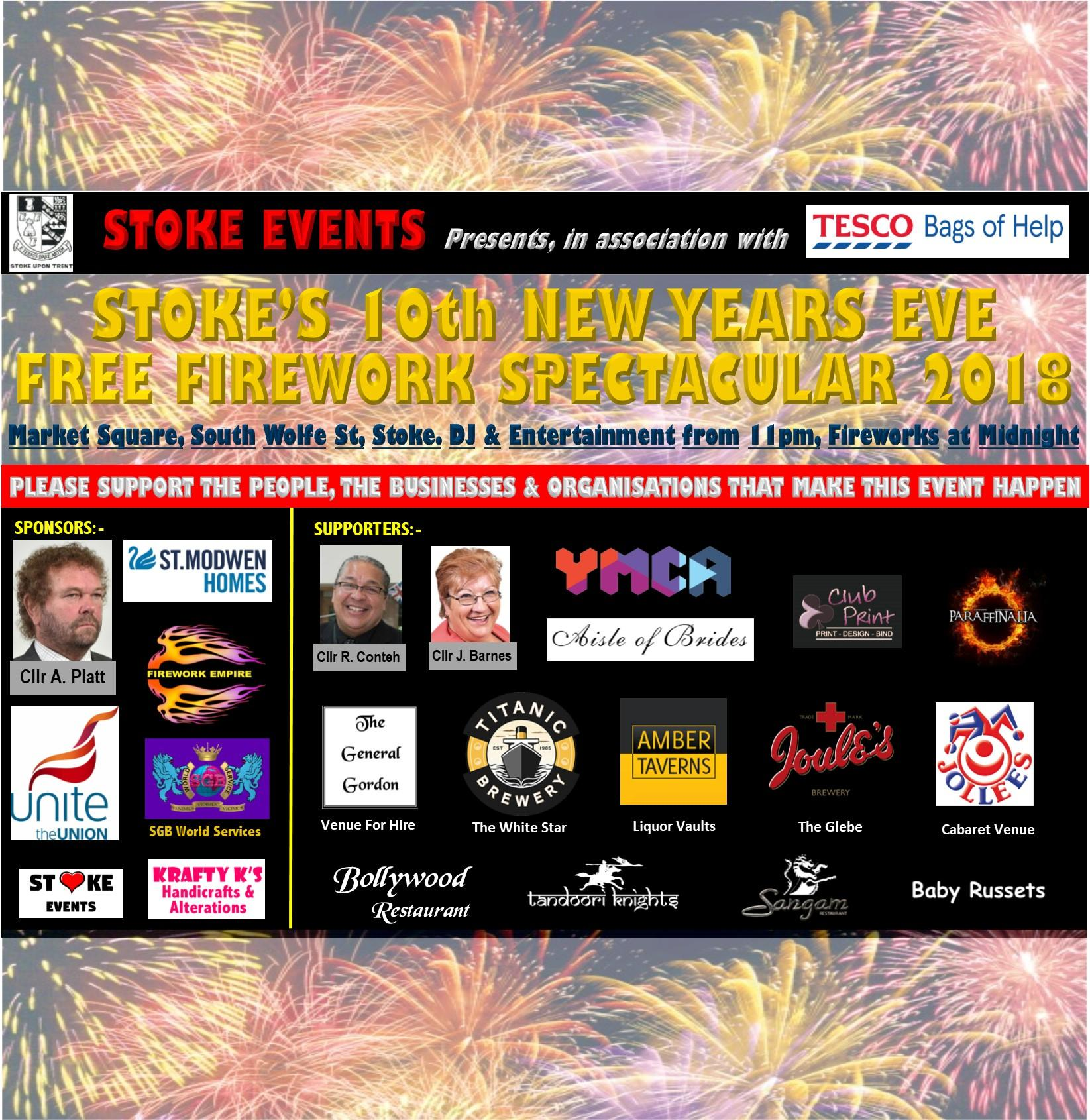new years eve free firework display tickets stoke town market