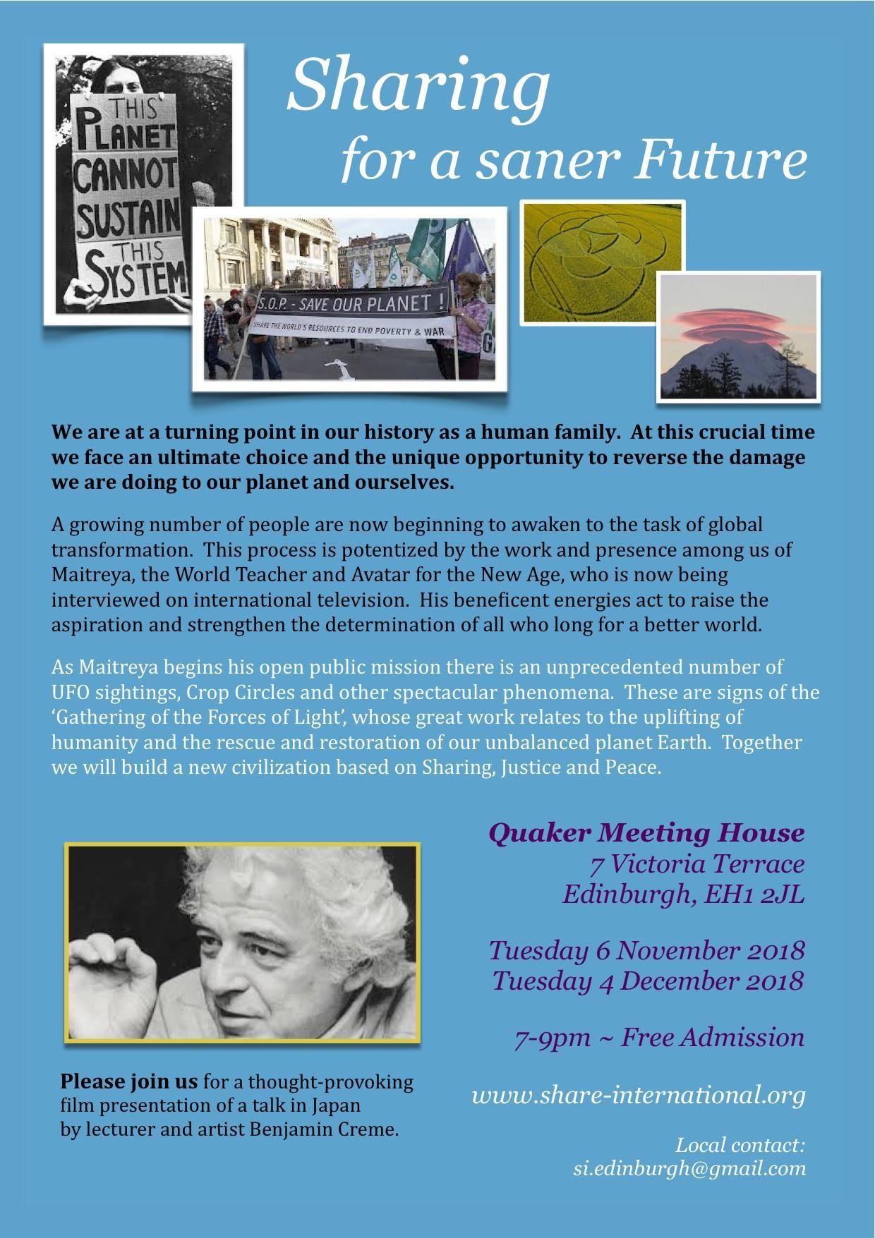Sharing For A Saner Future Film Presentation Quaker Meeting Transmissive 8211 Working Event Flyer