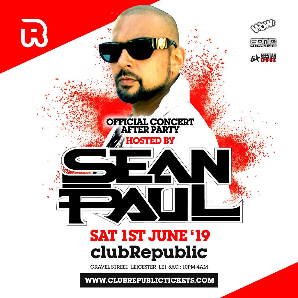 Sean Paul hosts Club Republic Tickets | Club Republic Leicester